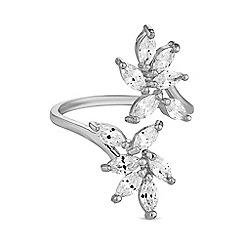 Jon Richard - Silver crystal leaf ring