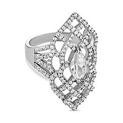 Jon Richard - Silver crystal filigree ring