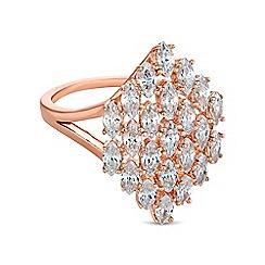 Jon Richard - Rose gold crystal cluster ring
