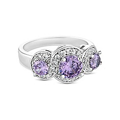 Jon Richard - Purple triple cubic zirconia ring
