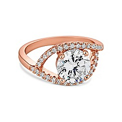 Jon Richard - Rose gold pave swirl ring