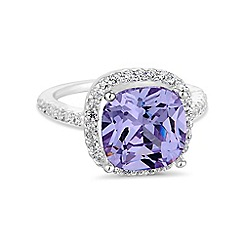 Jon Richard - Purple square cubic zirconia ring
