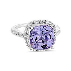 Jon Richard - Purple square cubic zirconia ring