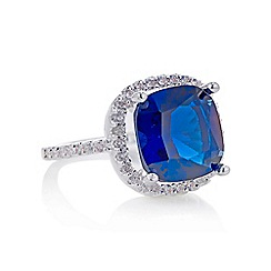 Jon Richard - Blue cubic zirconia pave square ring