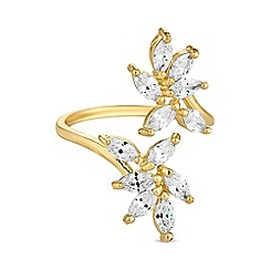 Jon Richard - Gold crystal leaf ring
