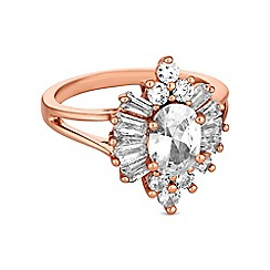 Jon Richard - Rose gold cubic zirconia burst ring