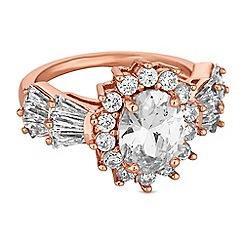 Jon Richard - Rose gold oval crystal cluster ring