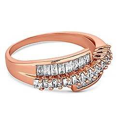 Jon Richard - Rose gold crystal twist ring