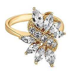 Jon Richard - Gold leaf crystal cluster ring