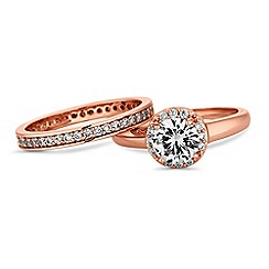 Jon Richard - Rose gold crystal stacking ring set