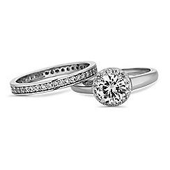 Jon Richard - Silver crystal stacking ring set