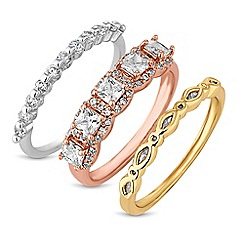 Jon Richard - Multi tone crystal stacking ring set