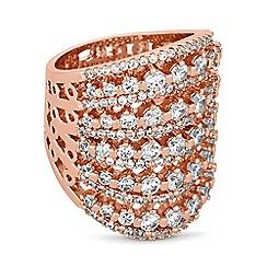 Jon Richard - Rose gold crystal lattice ring