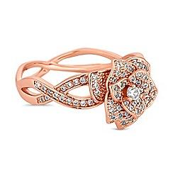 Jon Richard - Crystal pave floral twist ring