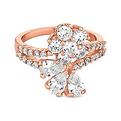 Jon Richard - Cubic zirconia flower and leaf ring