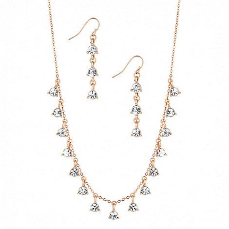 Jon Richard - Rose gold mini crystal cluster drop necklace & earring set