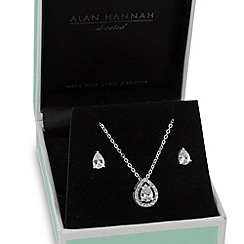 Alan Hannah Devoted - Designer cubic zirconia peardrop necklace and earring set