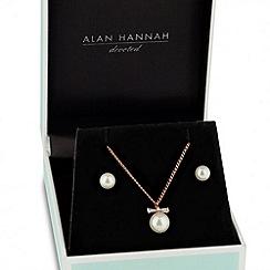 Alan Hannah Devoted - Designer cubic zirconia rose gold bow pearl drop jewellery set