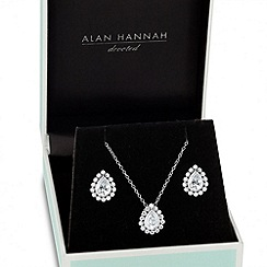 Alan Hannah Devoted - Designer cubic zirconia peardrop surround necklace and earring set