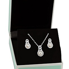 Alan Hannah Devoted - Designer pearl and cubic zirconia crossover necklace and earring set