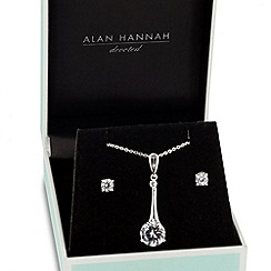 Alan Hannah Devoted - Designer cubic zirconia polished stick necklace and earring set