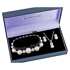 Jon Richard - Pearl and crystal ball trio jewellery set