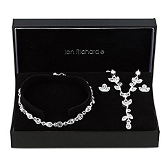 Jon Richard - Crystal embellished leaf trio jewellery set