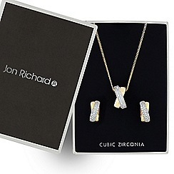 Jon Richard - Two tone cubic zirconia twist drop jewellery set