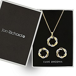 Jon Richard - Two tone polished and crystal swirl jewellery set