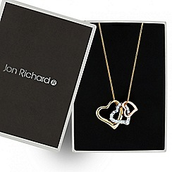 Jon Richard - Mixed metal triple crystal heart necklace