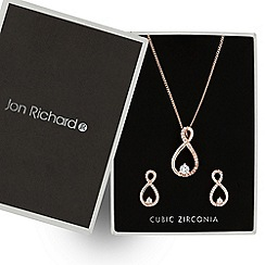 Jon Richard - Rose gold cubic zirconia infinity twist jewellery set