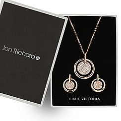 Jon Richard - Rose gold cubic zirconia disc drop jewellery set