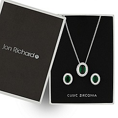 Jon Richard - Kate green oval cubic zirconia drop jewellery set
