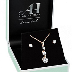 Alan Hannah Devoted - Designer rose gold cubic zirconia graduated drop jewellery set