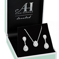 Alan Hannah Devoted - Designer cubic zirconia teardrop necklace and earring set
