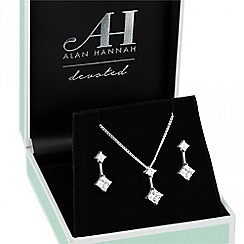 Alan Hannah Devoted - Designer square cubic zirconia polished stick jewellery set