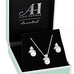 Alan Hannah Devoted - Designer cream pearl and cubic zirconia top jewellery set
