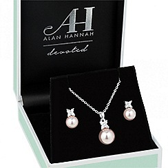 Alan Hannah Devoted - Designer cubic zirconia butterfly and pink pearl jewellery set