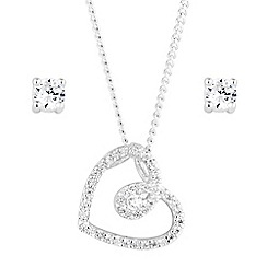 Alan Hannah Devoted - Designer cubic zirconia swirl heart jewellery set