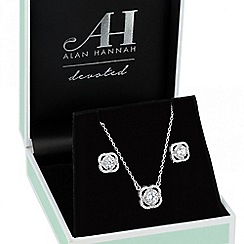 Alan Hannah Devoted - Designer cubic zirconia halo drop necklace and earring set