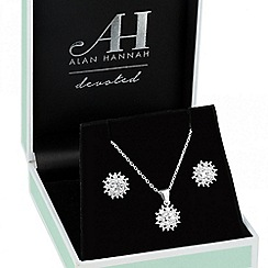 Alan Hannah Devoted - Designer cubic zirconia cluster pendant necklace and earring set