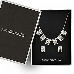 Jon Richard - Rose gold cubic zirconia six drop necklace and earring set