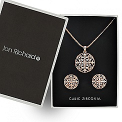 Jon Richard - Rose gold filigree disc necklace and earring set