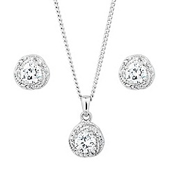 Jon Richard - Clara mini cubic zirconia swirl drop jewellery set