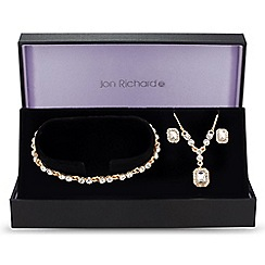 Jon Richard - Gold square crystal trio jewellery set
