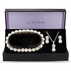 Jon Richard - Pave crystal and pearl trio jewellery set