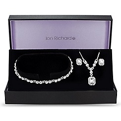 Jon Richard - Silver square crystal trio jewellery set