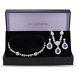 Jon Richard - Blue crystal peardrop trio jewellery set