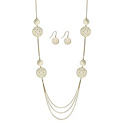 Jon Richard - Gold multi row filigree necklace and earring set