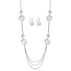Jon Richard - Silver multi row filigree necklace and earring set